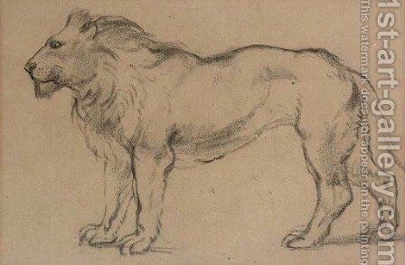 A lion in profile to the left by (after) Antoine Louis Barye - Reproduction Oil Painting