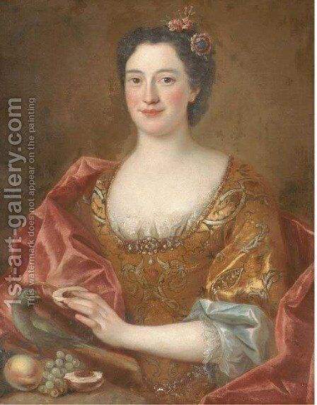 Portrait of a lady, half-length, wearing a gold-embroidered dress and feeding fruit to a parrot by (after) Pesne, Antoine - Reproduction Oil Painting