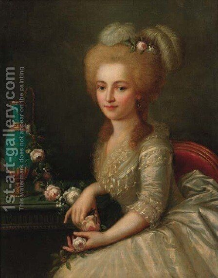 Portrait of a young lady 2 by (after) Antoine Vestier - Reproduction Oil Painting