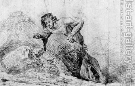 A boy leaning on a rock reaching out with his right arm by (after) Watteau, Jean Antoine - Reproduction Oil Painting