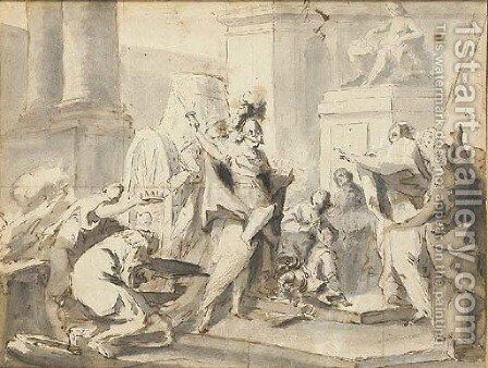 Alexander cutting the Gordian knot by (after) Anton Franz Maulbertsch - Reproduction Oil Painting
