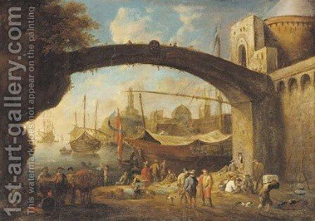 A Mediterranean harbour with traders under a bridge by (after) Anton Goubau - Reproduction Oil Painting