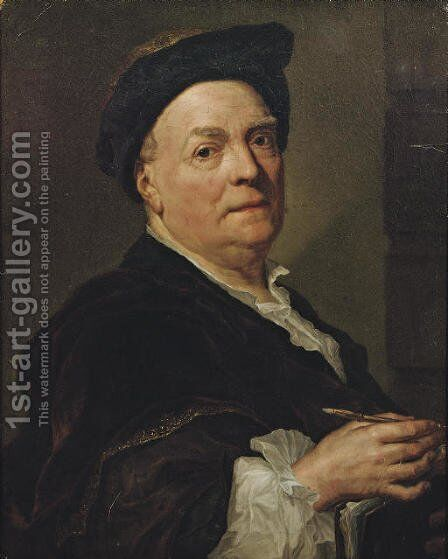 Portrait of Louis de Silvestre (1675-1760), half-length, holding a pen and leaning on a portfolio by (after) Mengs, Anton Raphael - Reproduction Oil Painting