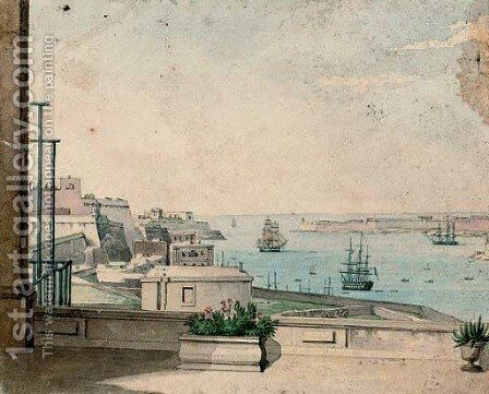 Entrance to the harbour at Valetta, Malta by (after) Anton Schranz - Reproduction Oil Painting