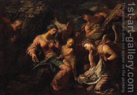 Angels showing the Instruments of the Passion to the Infant Christ and the Holy Family by (after) Antonio Balestra - Reproduction Oil Painting