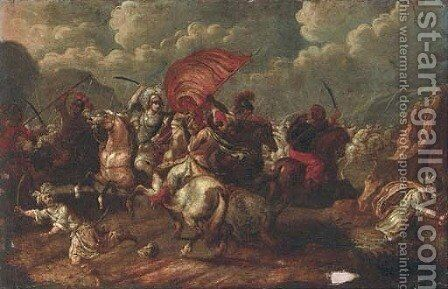A cavalry skirmish between Christians and Turks by (after) Antonio Calza - Reproduction Oil Painting