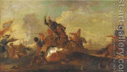 A cavalry skirmish by (after) Antonio Calza - Reproduction Oil Painting