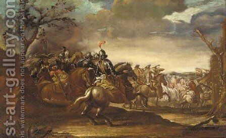 Cavalry marching by a country inn by (after) Antonio Calza - Reproduction Oil Painting