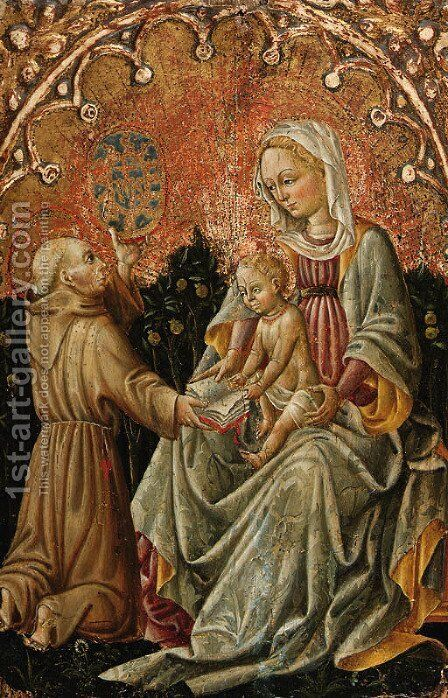 The Madonna and Child with Saint Bernardino of Siena by (after) Antonio Di Guido Alberti Da Ferrara - Reproduction Oil Painting