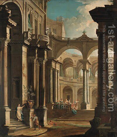 A capriccio of the courtyard of a baroque palace with musicians and other figures by (after) Antonio Joli - Reproduction Oil Painting