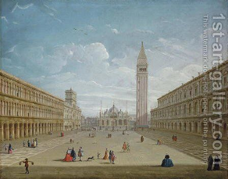The Piazza San Marco, Venice, looking East by (after) Antonio Joli - Reproduction Oil Painting