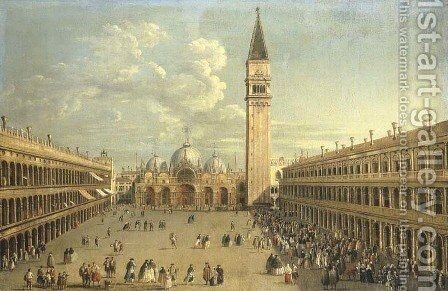 The Piazza San Marco, Venice, looking East towards Saint Mark's, by (after) Antonio Joli - Reproduction Oil Painting