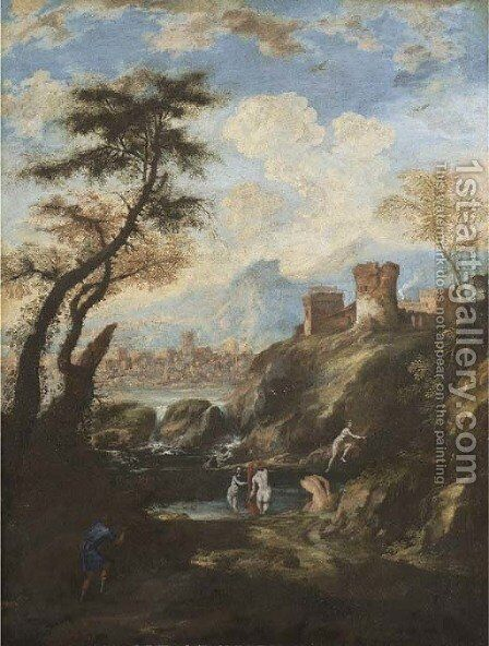 A mountainous river landscape with Diana and Actaeon by (after) Antonio Marini - Reproduction Oil Painting