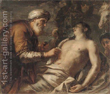 The Good Samaritan 2 by (after) Antonio Zanchi - Reproduction Oil Painting