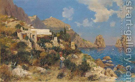 A lady by a coastline cottage in Capri by (after) August Lovatti - Reproduction Oil Painting