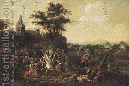 A cavalry engagement outside a walled city by (after) August Querfurt - Reproduction Oil Painting