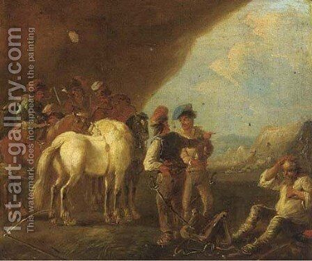 A military encampment by (after) August Querfurt - Reproduction Oil Painting