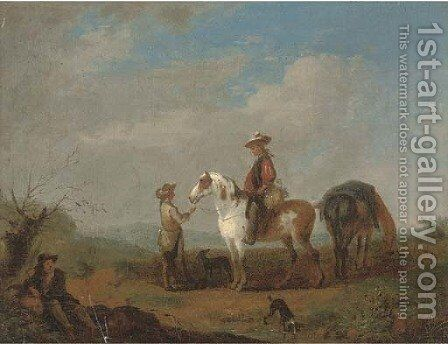 Travellers at halt in a landscape by (after) August Querfurt - Reproduction Oil Painting