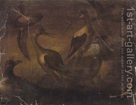 Storks in a river landscape by (after) Baldassare De Caro - Reproduction Oil Painting