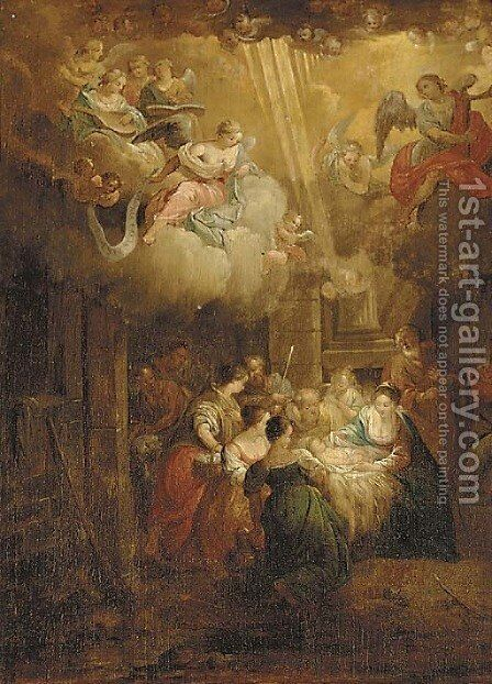 The Adoration of the Shepherds by (after) Balthasar Beschey - Reproduction Oil Painting