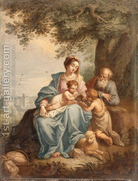 The Holy Family with Saint John the Baptist in a Landscape by (after) Balthasar Beschey - Reproduction Oil Painting