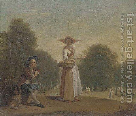 A lady selling peaches in a formal garden with an old man seated, elegant figures beyond by (after) Balthasar Nebot - Reproduction Oil Painting