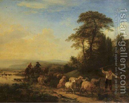 Shepherds leading their flock on a path in a mountainous landscape by (after) Balthasar Paul Ommeganck - Reproduction Oil Painting