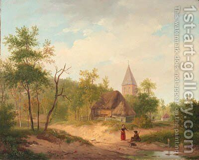 Gezigt bij het dorp Beek in Gelderland by (after) Barend Cornelis Koekkoek - Reproduction Oil Painting