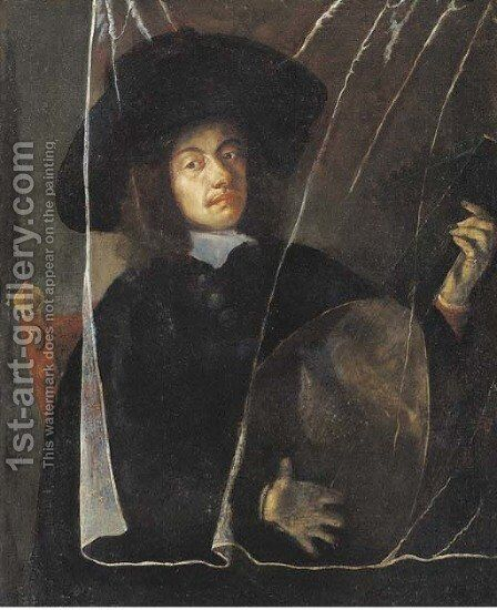 A man playing a lute behind a trompe l'oeil curtain by (after) Barent Fabritius - Reproduction Oil Painting