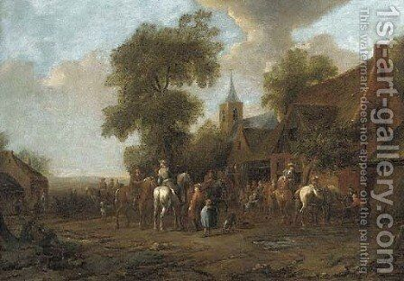 A village fair with travellers outside an inn by (after) Barent Gael - Reproduction Oil Painting