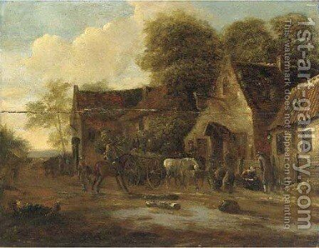 A village landscape with travellers and a wagon by an inn by (after) Barent Gael - Reproduction Oil Painting