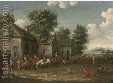 A wooded landscape with a hunting party setting out from an inn by (after) Barent Gael - Reproduction Oil Painting