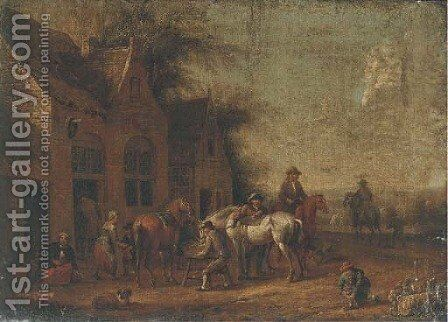 Travellers halted outside an inn by (after) Barent Gael - Reproduction Oil Painting