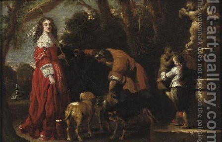 An elegantly dressed lady and her son in a parklandscape near a fountain, a male servant attending her dogs nearby by (after) Barent Graat - Reproduction Oil Painting