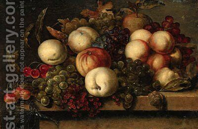 Grapes, peaches, redcurrants, cherries, an apple and a dragonfly on a ledge by (after) Bartholomeus Assteyn - Reproduction Oil Painting