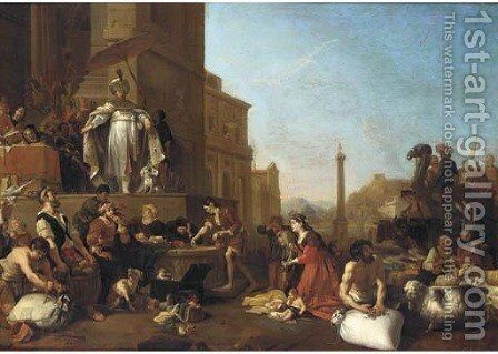 Joseph selling Corn by (after) Bartholomeus Breenbergh - Reproduction Oil Painting