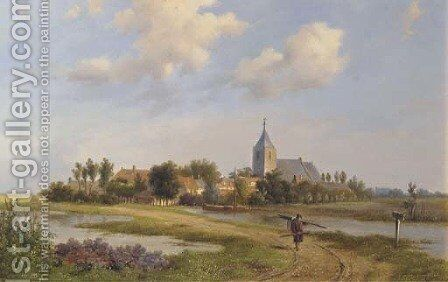 The outskirts of Nootdorp in summer by (after) Bartholomeus Johannes Van Hove - Reproduction Oil Painting