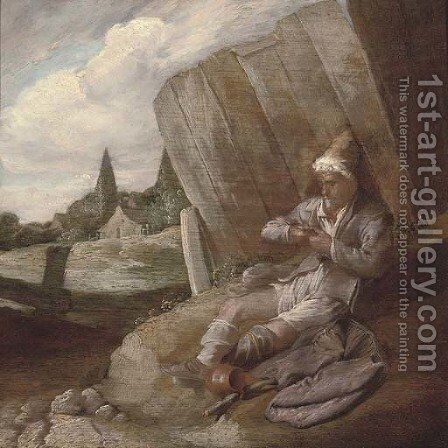 A peasant defleeing himself by (after) Bartholomeus Molenaer - Reproduction Oil Painting
