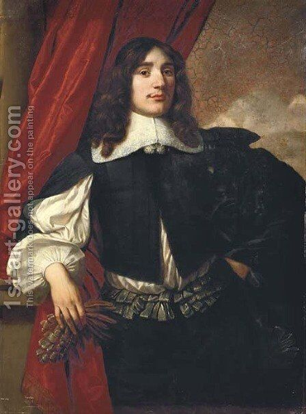 Portrait of a gentleman 5 by (after) Bartholomeus Van Der Helst - Reproduction Oil Painting