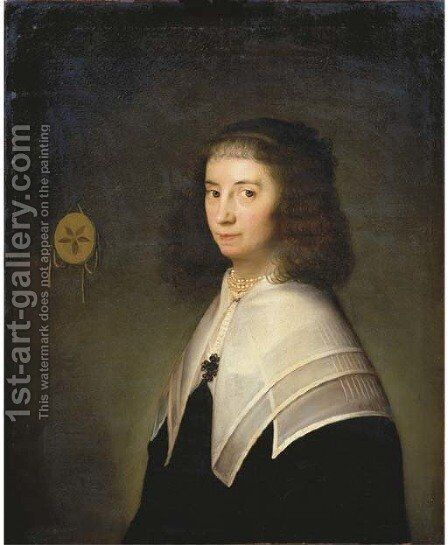 Portrait of a lady by (after) Bartholomeus Van Der Helst - Reproduction Oil Painting