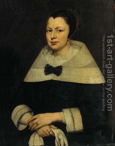 Portrait of a lady 2 by (after) Bartholomeus Van Der Helst - Reproduction Oil Painting