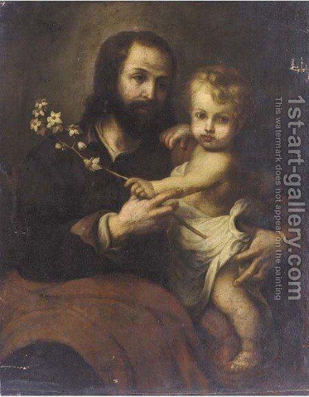 Saint Joseph and the Christ Child by (after) Murillo, Bartolome Esteban - Reproduction Oil Painting