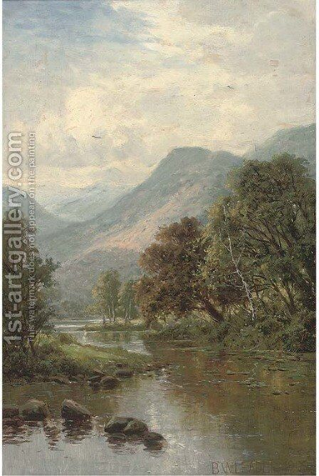 A peaceful stretch of the river by (after) Benjamin Williams Leader - Reproduction Oil Painting