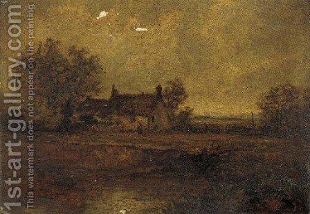 Figures by a pond before a cottage by (after) Benjamin Williams Leader - Reproduction Oil Painting