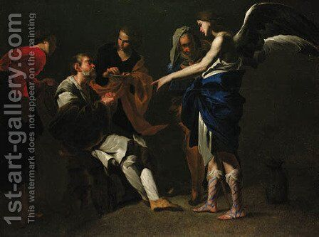 The Healing of the Blind Tobit by (after) Bernardo Cavallino - Reproduction Oil Painting