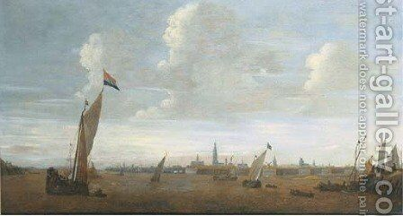 Shipping on the river Scheldt with Antwerp in the distance by (after) Bonaventura Peeters - Reproduction Oil Painting