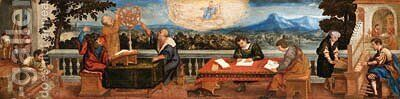An Allegory of the Arts and Sciences by (after) Bonifacio Veronese (Pitati) - Reproduction Oil Painting