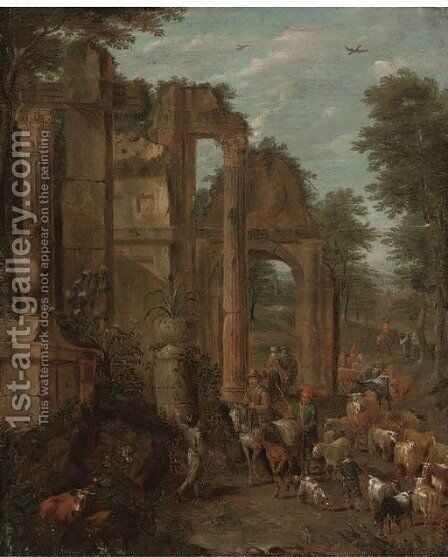 A landscape with shepherds, drovers and their flocks on a wooded track by classical ruins by (after) Cajetan Roos - Reproduction Oil Painting