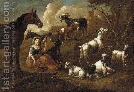 A shepherdess spinning wool with goats, horses and a dog nearby by (after) Cajetan Roos - Reproduction Oil Painting