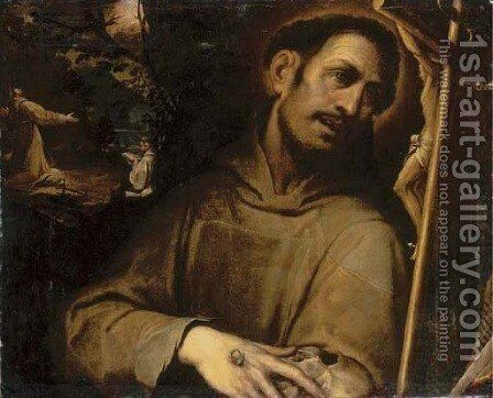 Saint Francis adoring the Cross, with the Stigmatisation of Saint Francis beyond by (after) Camillo Procaccini - Reproduction Oil Painting